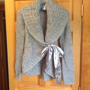 Forever 21 Grey Cable Knit Tie Sweater Size S